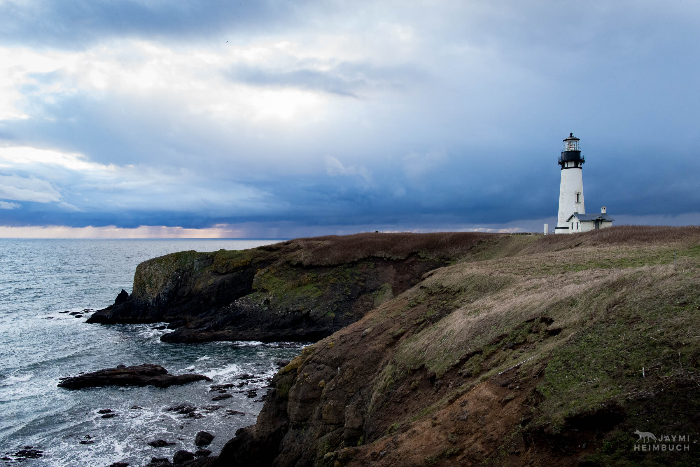Landscape of Yaquina Head Lighthouse at Yaquina Head Outstanding Natural Area, Newport, Oregon